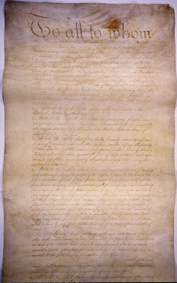 Articles of Confederation, page 1