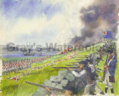 Battle of Breed's Hill, 1775 Watercolor