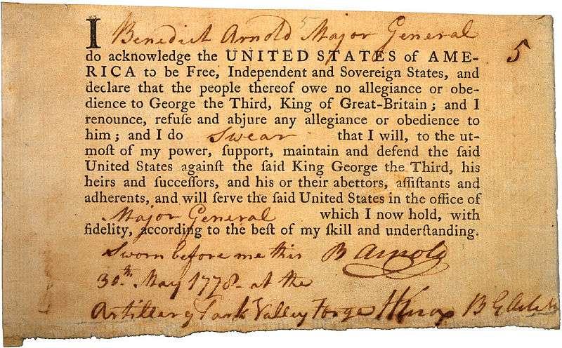 Benedict Arnold's Oath of Allegiance