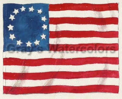Betsy Ross Flag Watercolor