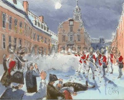 Boston Massacre, 1770 Watercolor