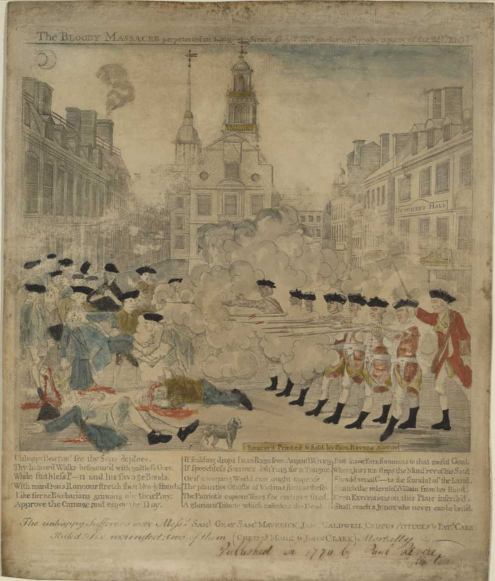 Boston Massacre engraving by Paul Revere