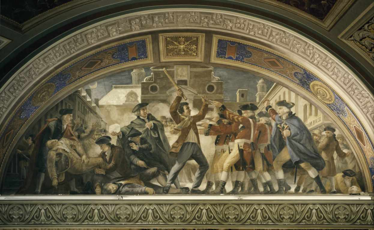 Boston Massacre, 1770, fresco, US Capitol