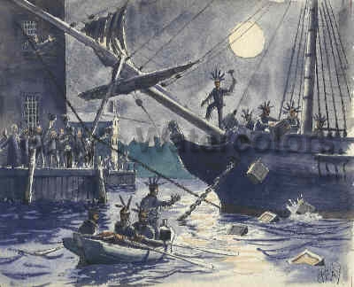 Boston Tea Party, 1773 Watercolor