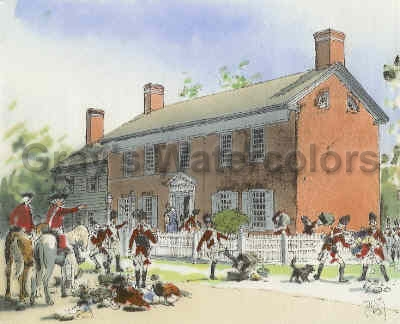 British Sacking Belcher Mansion watercolor