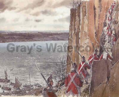 British Scaling the Palisades II watercolor