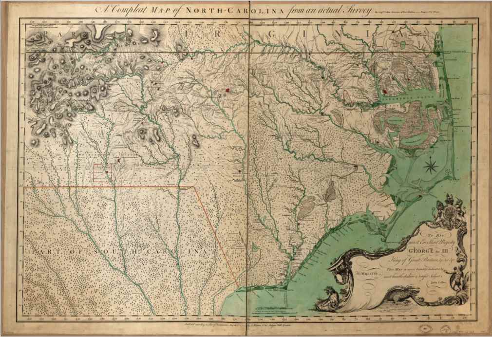 1770 Map Of New York City. Colonial map of North Carolina