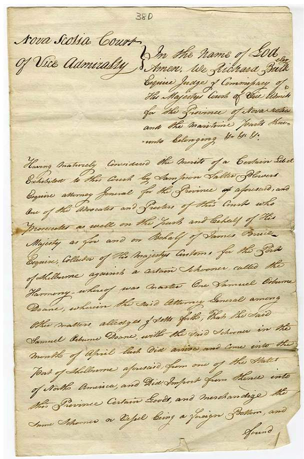 Court Records, Vice-Admiralty Court, Halifax, Nova Scotia, 1785