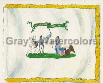 Early American National Flag c. 1776 Watercolor