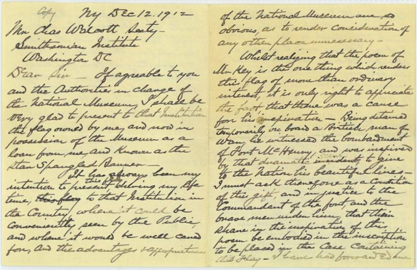 Eben Appleton letter to Charles Walcott, Secretary of the  Smithsonian Institution in 1912, Appleton expresses great confidence in the Institution's  ability to care for the Star Spangled Banner Flag, page 1