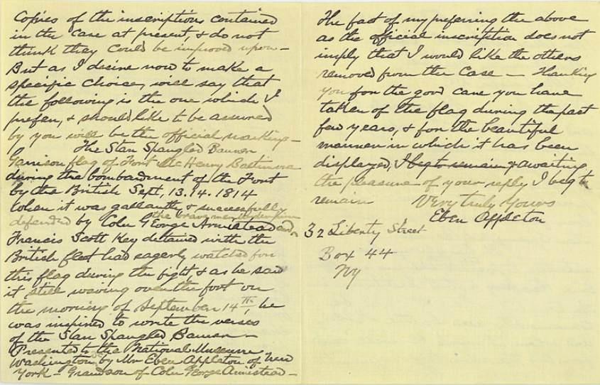 Eben Appleton letter to Charles Walcott, page 2