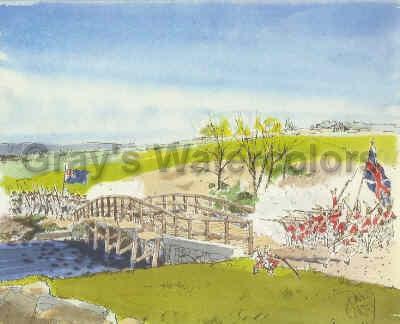 Encounter at Old North Bridge, 1775 Watercolor