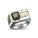 Sterling Silver & Black Onyx Engraved US Navy Ring