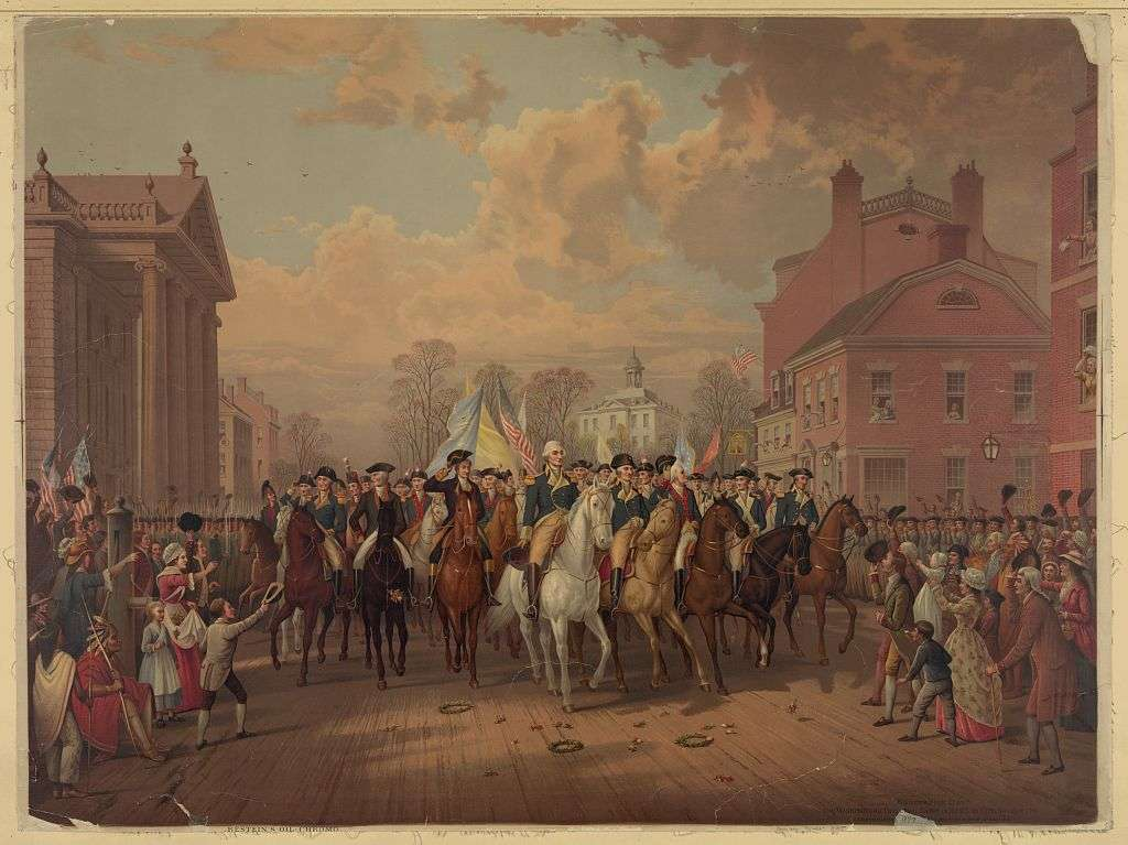Evacuation day and Washington's triumphal entry in New York City, Nov. 25th, 1783 by E.P. Restein