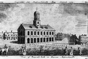 Faneuil Hall and Dock Square in 1789