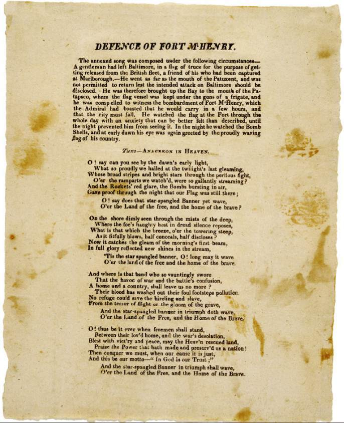 First known printing of Star Spangled Banner  Song, then called Defence of Fort McHenry
