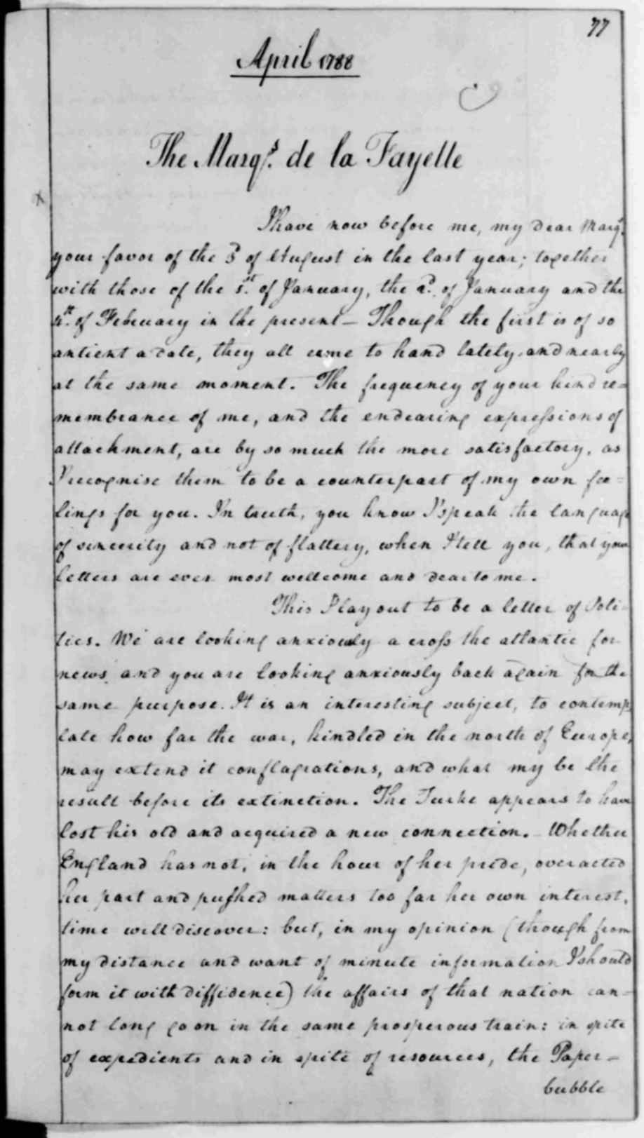 George Washington letter to the Marquis de Lafayette, April 28, 1788