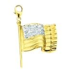 14k Gold Diamond American Flag Charm