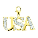 14k Gold Diamond USA Charm