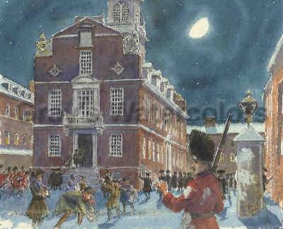 Harassment before Boston Massacre, 1770 Watercolor