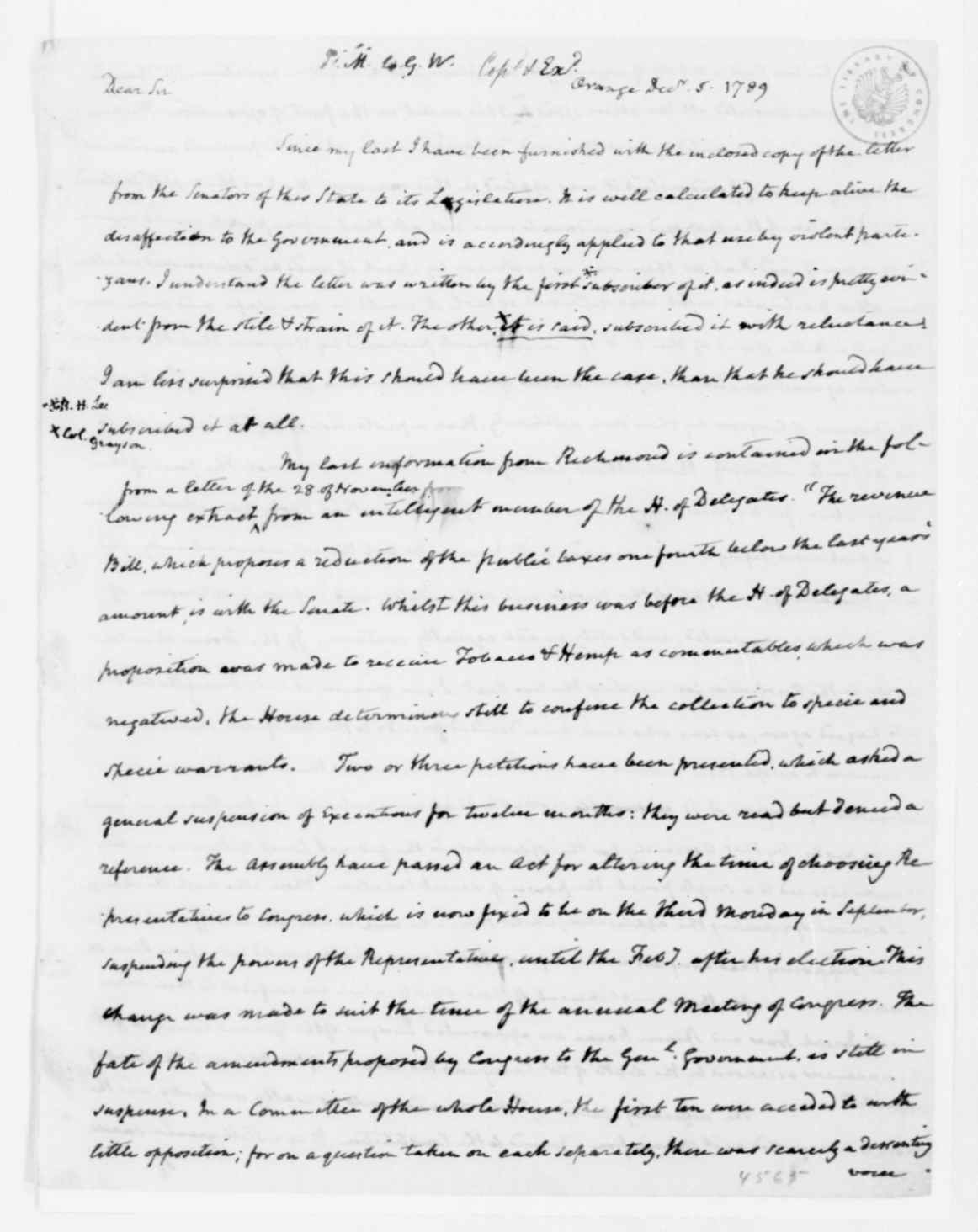 James Madison letter to George Washington, December 5, 1789
