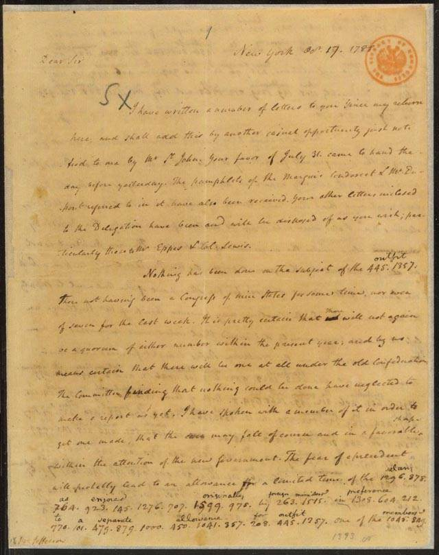 James Madison letter to Thomas Jefferson, October 17, 1788