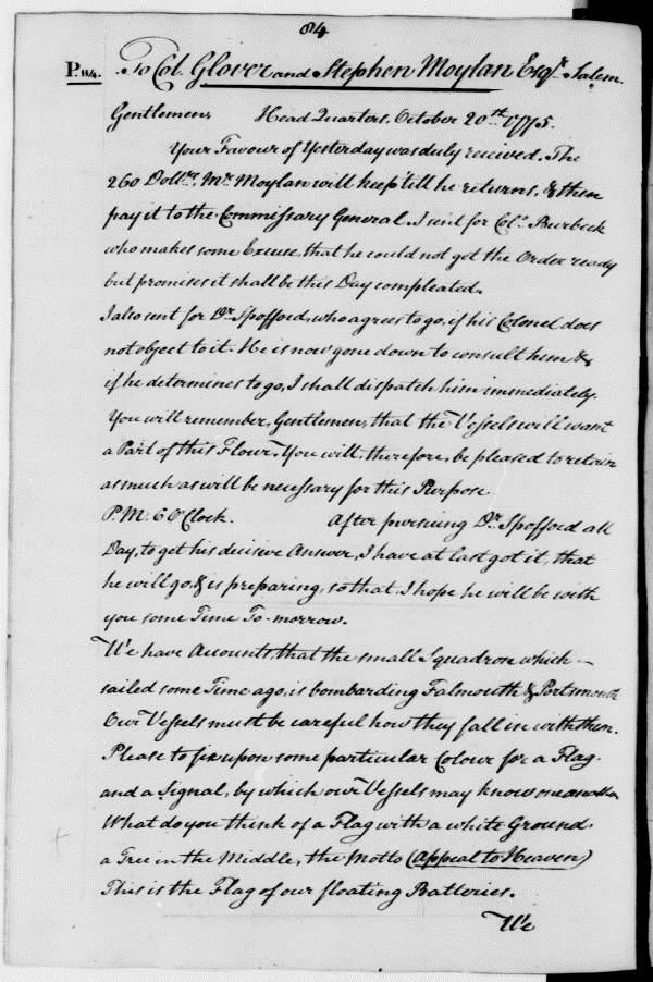 Joseph Reed letter to John Glover, October 20, 1775