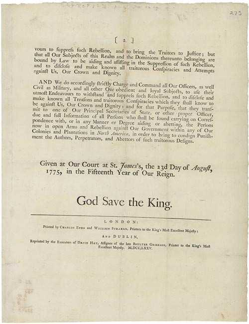 King George III Rebellion Proclamation