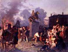 Pulling Down the Statue of King George III - Oertel