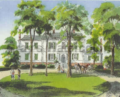 Liberty Hall, Elizabeth, New Jersey watercolor