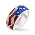 Silver-Tone Patriotic Cubic Zirconia Ring