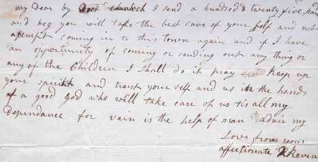 Rachel Revere letter to Paul Revere