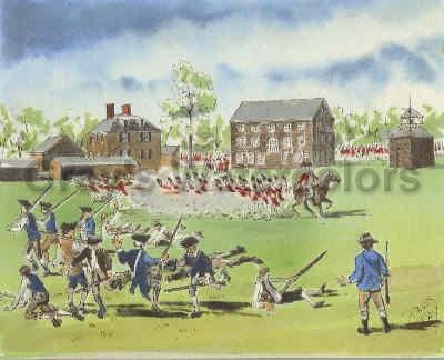 Redcoats and Minutemen at Lexington Green Watercolor