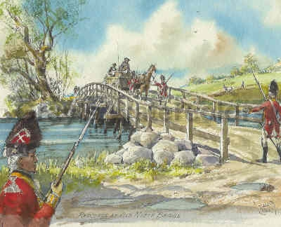 Redcoats at Old North Bridge, 1775 Watercolor