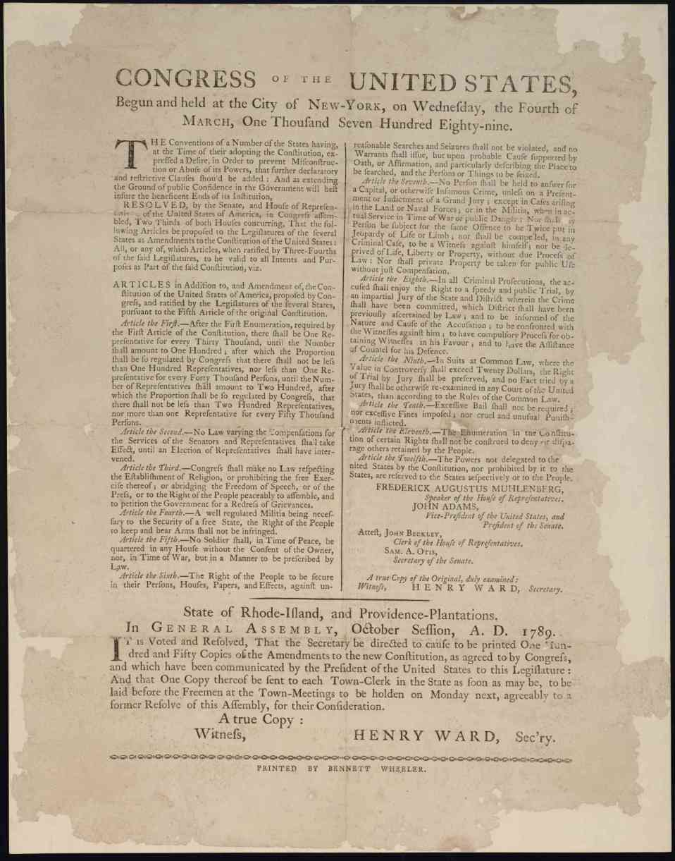Rhode Island Copy of Proposed Twelve Amendments to the Constitution