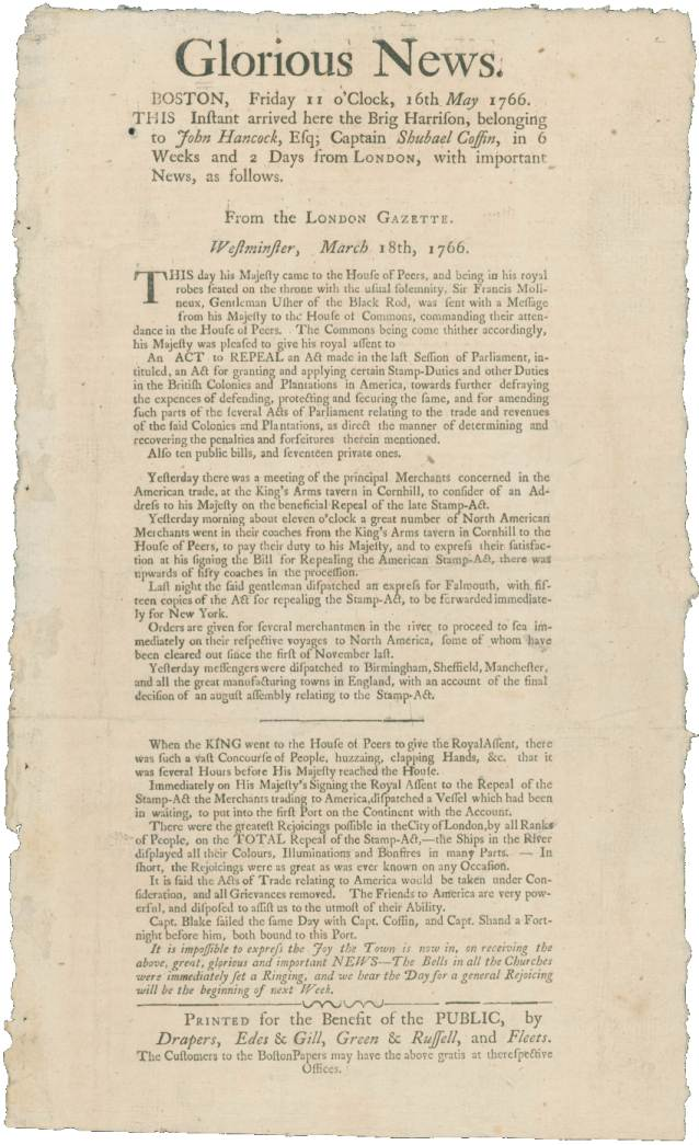 Stamp Act Repeal Announcement, London Gazette