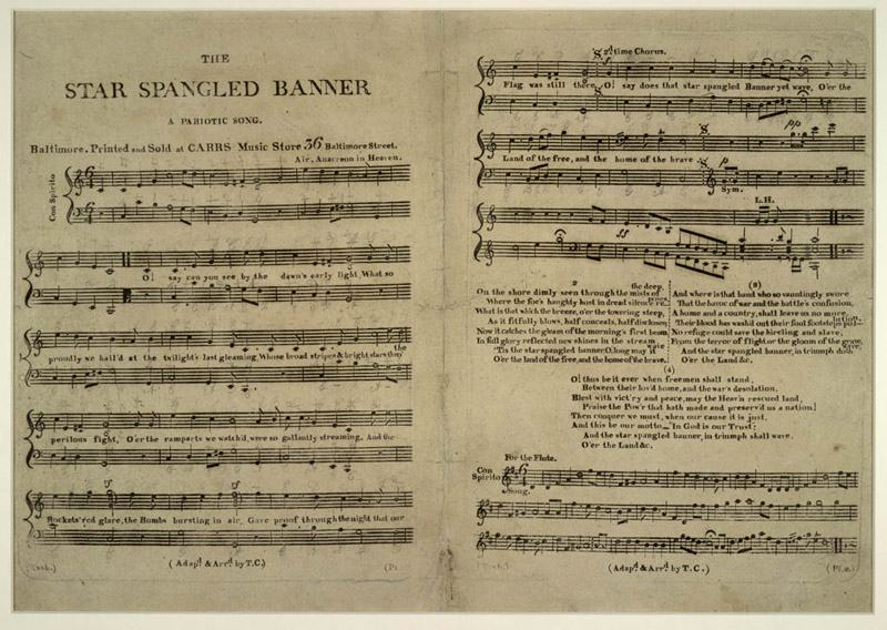 First Sheet Music issued of the Star Spangled Banner 