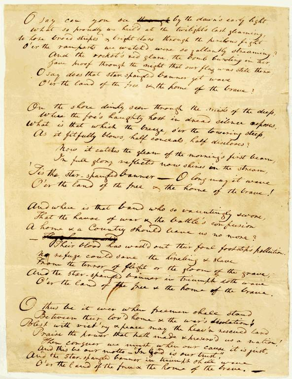 Earliest known  Star Spangled Banner Handwritten Copy, probably a  draft Francis Scott Key made before taking it to the printer