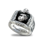 Sterling Silver and Onyx US Marines Ring