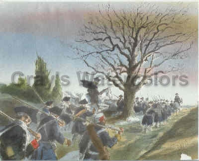Washington & Troops passing the Great Oak in Hamilton, New Jersey Watercolor