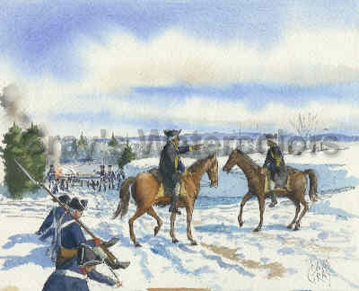 Washington at Kingston, New Jersey Watercolor