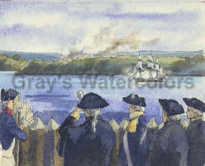 Washington Observing Attack on White Plains, c1776 watercolor