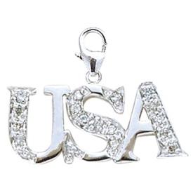 14k White Gold Diamond USA Charm