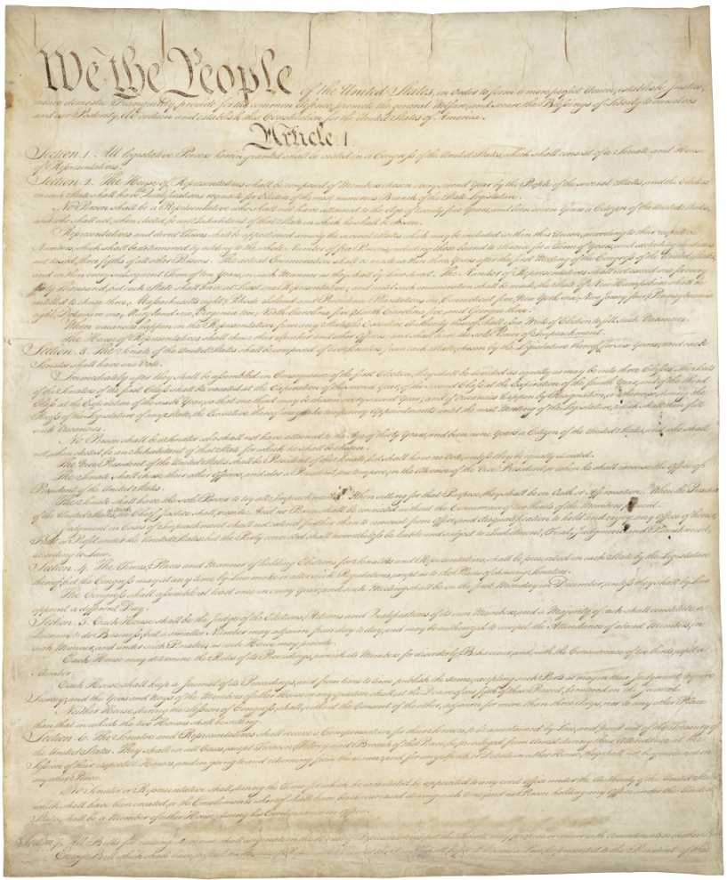 First Page of the US Constitution