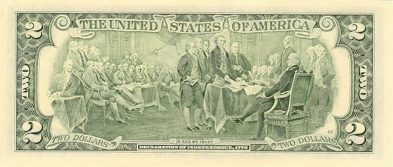 2 Dollar Bill back