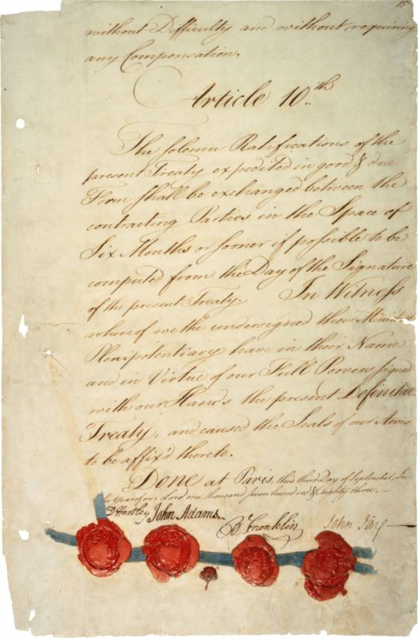Treaty of Paris signature page, 1783