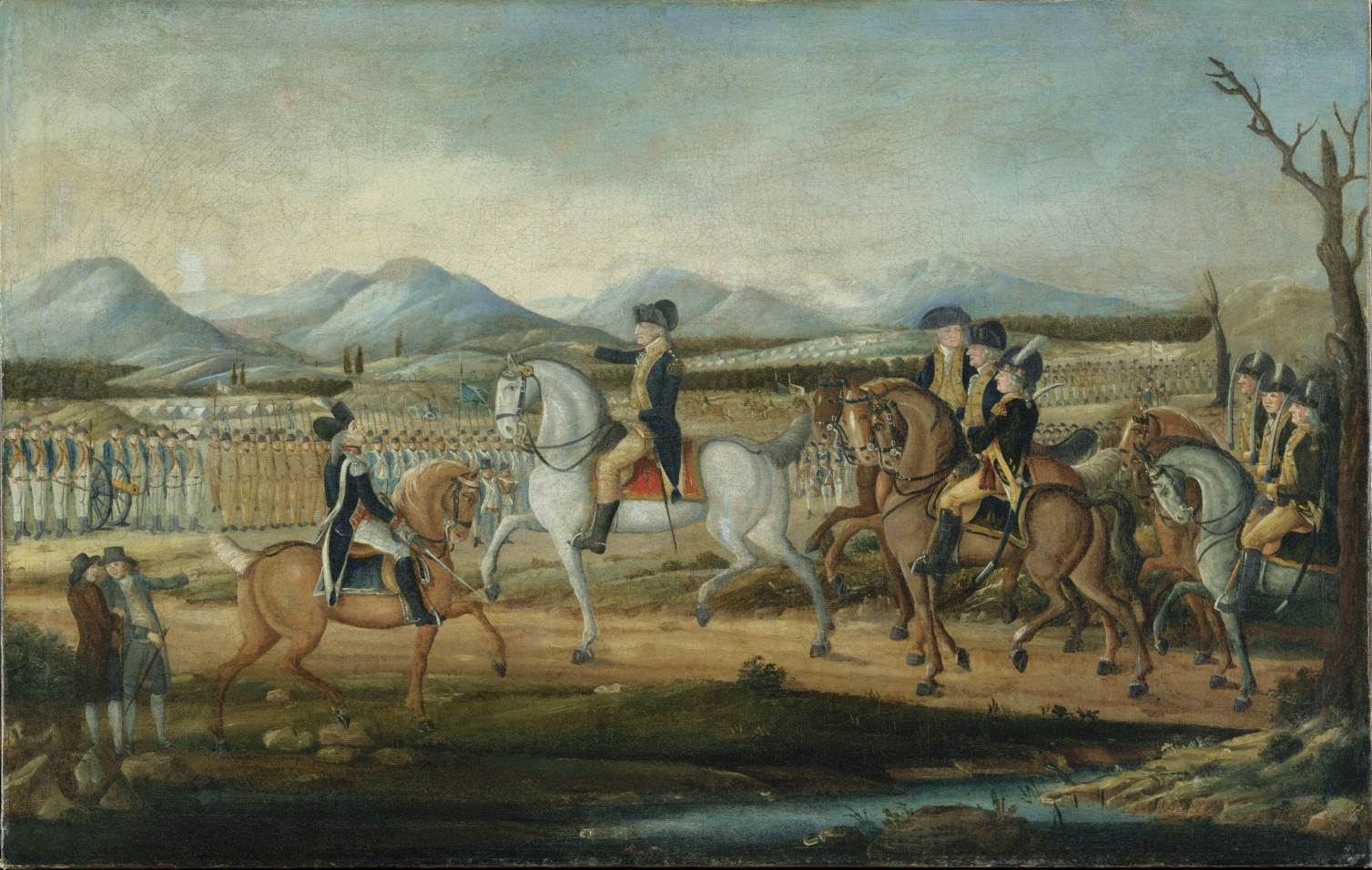 Washington reviewing the troops at Fort Cumberland