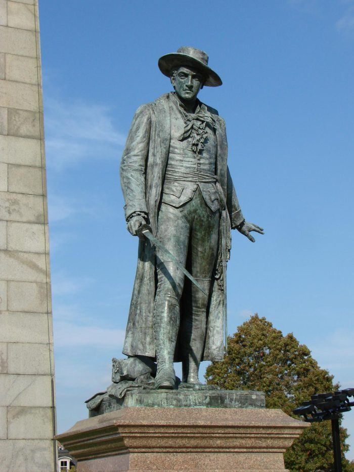 Colonel William Prescott statue at the Battle of Bunker Hill Monument in Boston