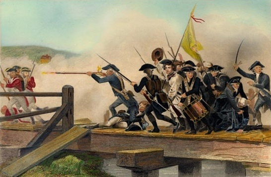 Battle on Concord Bridge by Alonzo Chappel