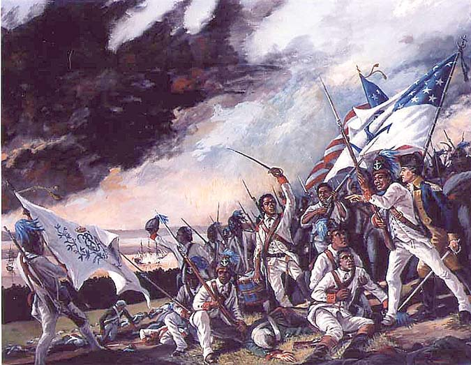 1st Rhode Island Regiment at the Battle of Bloody Run Brook by David Wagner